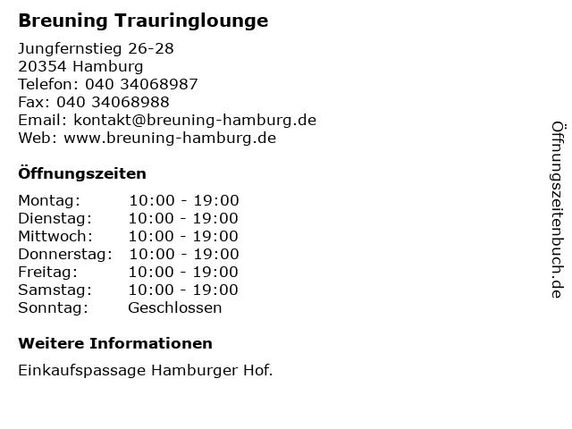Breuning Trauringlounge in Hamburg: Adresse und Öffnungszeiten
