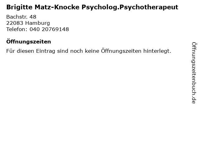 Brigitte Matz-Knocke Psycholog.Psychotherapeut in Hamburg: Adresse und Öffnungszeiten
