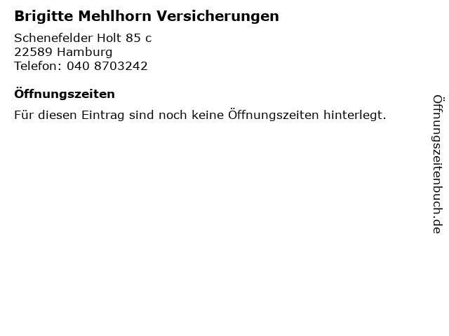 Brigitte Mehlhorn Versicherungen in Hamburg: Adresse und Öffnungszeiten