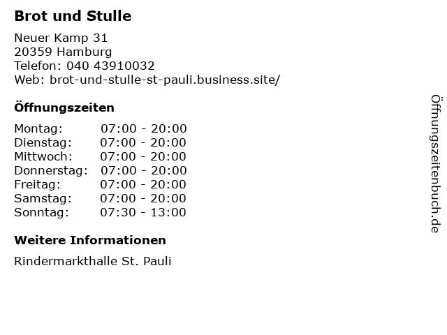 Brot und Stulle in Hamburg: Adresse und Öffnungszeiten