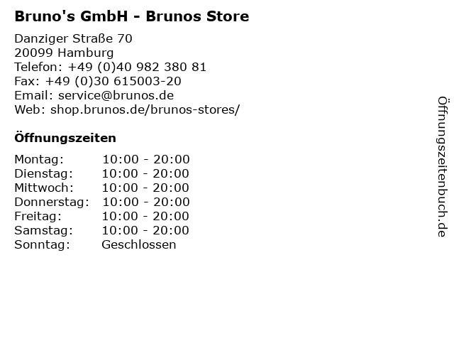 Bruno's GmbH - Brunos Store in Hamburg: Adresse und Öffnungszeiten