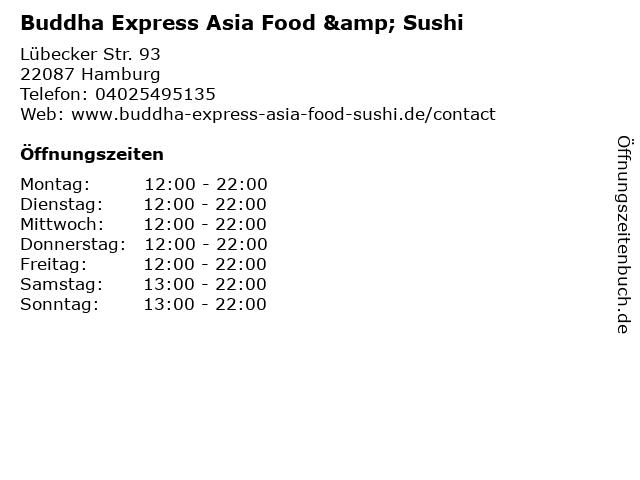 Buddha Express Asia Food & Sushi in Hamburg: Adresse und Öffnungszeiten