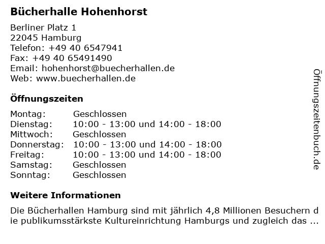 Bücherhalle Hohenhorst in Hamburg: Adresse und Öffnungszeiten