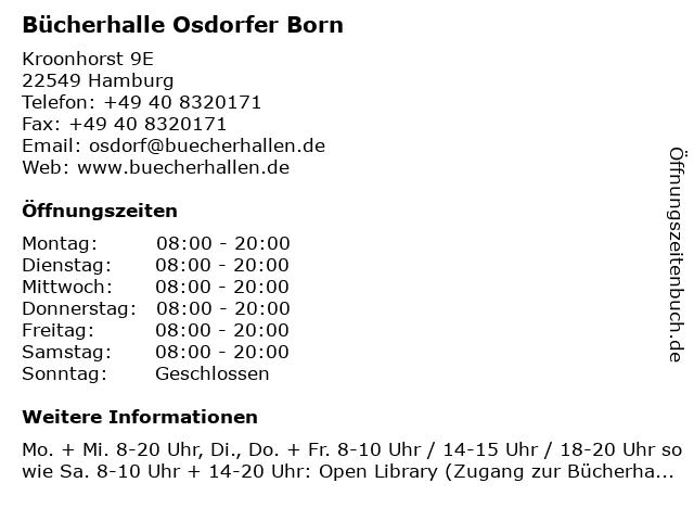 Bücherhalle Osdorfer Born in Hamburg: Adresse und Öffnungszeiten
