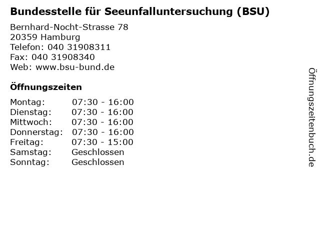 Bundesstelle für Seeunfalluntersuchung (BSU) in Hamburg: Adresse und Öffnungszeiten
