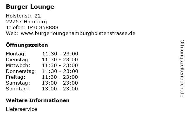 Burger Lounge in Hamburg: Adresse und Öffnungszeiten