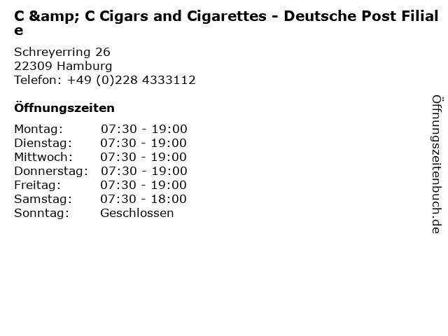 C & C Cigars and Cigarettes - Deutsche Post Filiale in Hamburg: Adresse und Öffnungszeiten