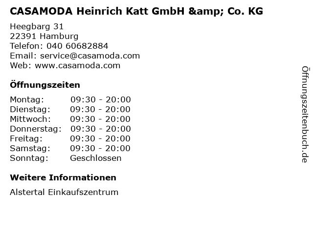 CASAMODA Heinrich Katt GmbH & Co. KG in Hamburg: Adresse und Öffnungszeiten