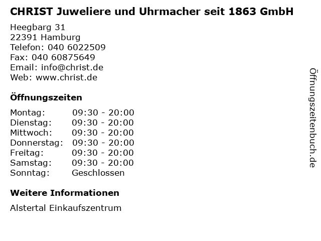 CHRIST Juweliere und Uhrmacher seit 1863 GmbH in Hamburg: Adresse und Öffnungszeiten