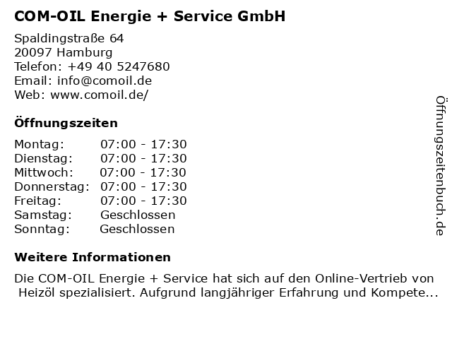 COM-OIL Energie + Service GmbH in Hamburg: Adresse und Öffnungszeiten