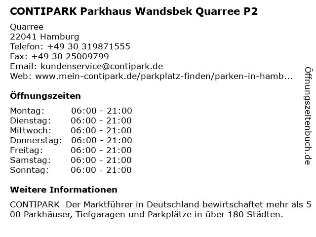 CONTIPARK Parkhaus Wandsbek Quarree P2 in Hamburg: Adresse und Öffnungszeiten
