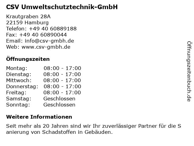 CSV Umweltschutztechnik-GmbH in Hamburg: Adresse und Öffnungszeiten