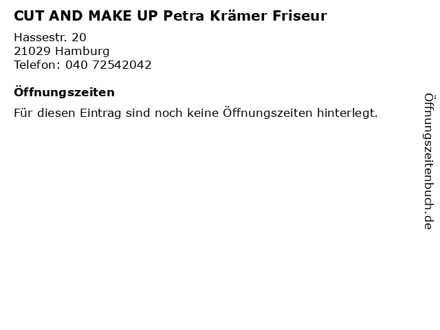 CUT AND MAKE UP Petra Krämer Friseur in Hamburg: Adresse und Öffnungszeiten