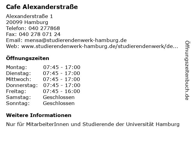 Cafe Alexanderstraße in Hamburg: Adresse und Öffnungszeiten