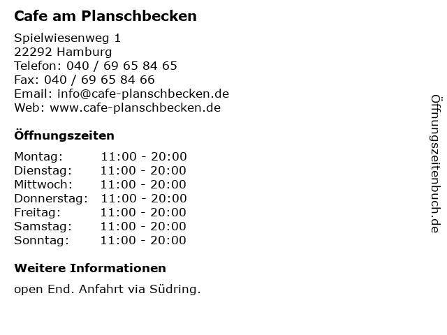 Cafe am Planschbecken in Hamburg: Adresse und Öffnungszeiten