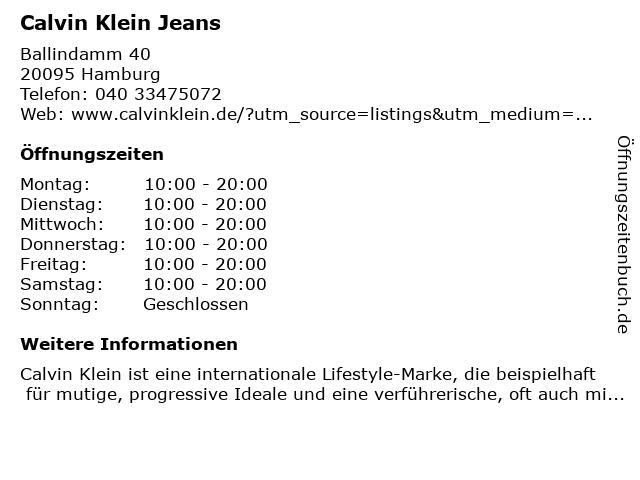 Calvin Klein Jeans in Hamburg: Adresse und Öffnungszeiten