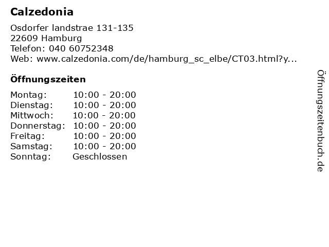 Calzedonia Germany GmbH in Hamburg: Adresse und Öffnungszeiten