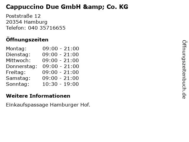 Cappuccino Due GmbH & Co. KG in Hamburg: Adresse und Öffnungszeiten