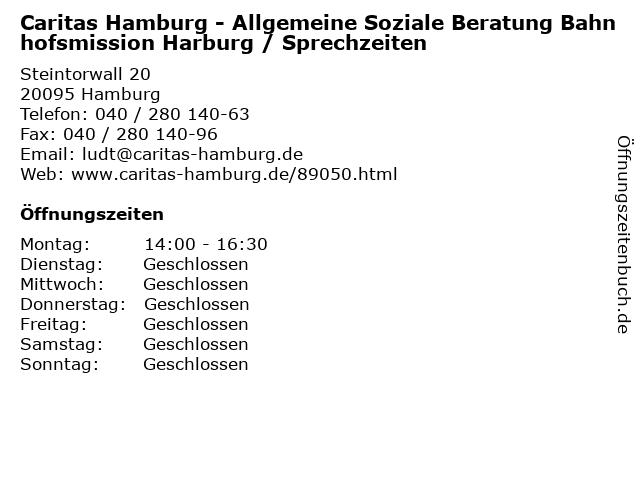 Caritas Hamburg - Allgemeine Soziale Beratung Bahnhofsmission Harburg / Sprechzeiten in Hamburg: Adresse und Öffnungszeiten
