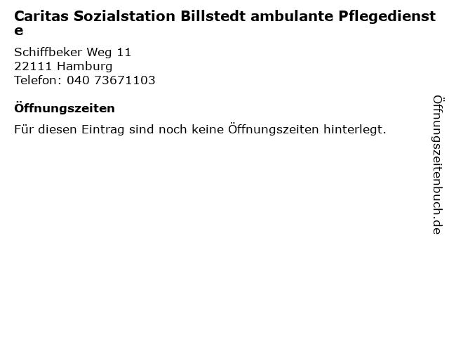 Caritas Sozialstation Billstedt ambulante Pflegedienste in Hamburg: Adresse und Öffnungszeiten