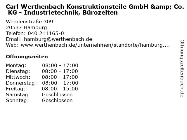 Carl Werthenbach Konstruktionsteile GmbH & Co. KG - Industrietechnik, Bürozeiten in Hamburg: Adresse und Öffnungszeiten