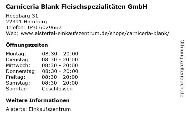 Carniceria Blank Fleischspezialitäten GmbH in Hamburg: Adresse und Öffnungszeiten