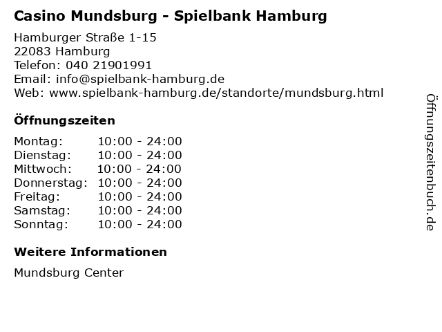 Casino Mundsburg - Spielbank Hamburg in Hamburg: Adresse und Öffnungszeiten