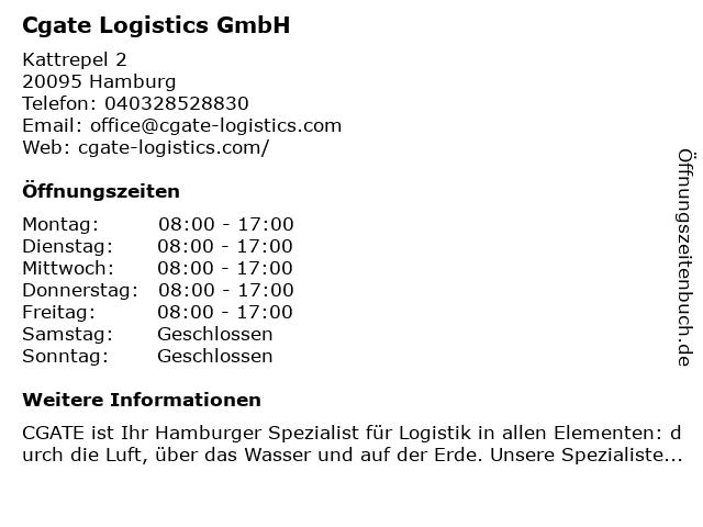 Cgate Logistics GmbH in Hamburg: Adresse und Öffnungszeiten