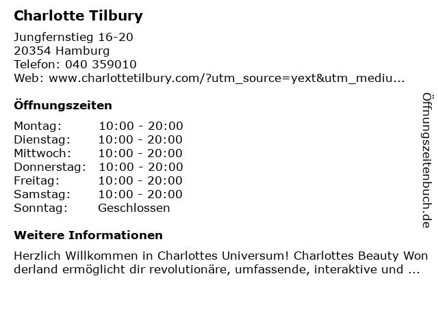 Charlotte Tilbury in Hamburg: Adresse und Öffnungszeiten