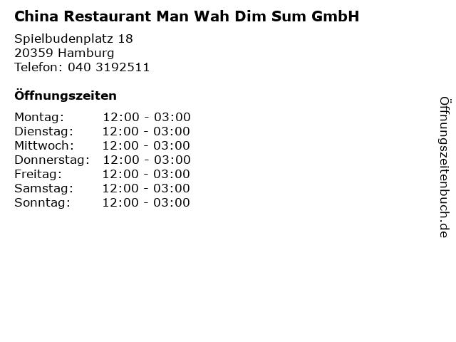 China Restaurant Man Wah Dim Sum GmbH in Hamburg: Adresse und Öffnungszeiten