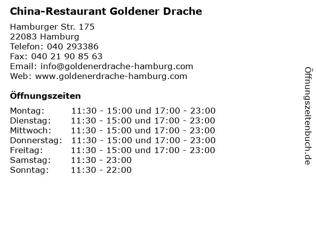China-Restaurant Goldener Drache in Hamburg: Adresse und Öffnungszeiten