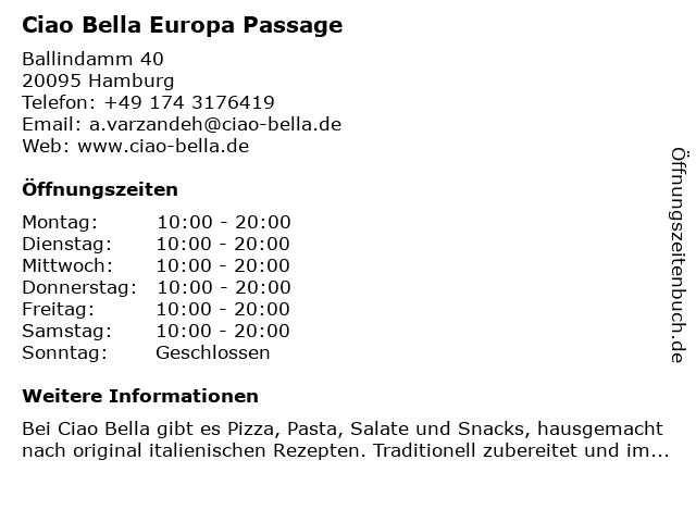 ciao bella Europa Passage in Hamburg: Adresse und Öffnungszeiten