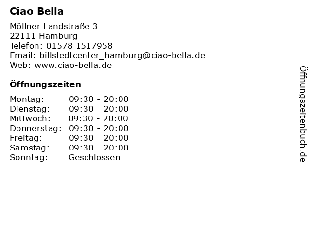 Ciao Bella in Hamburg: Adresse und Öffnungszeiten