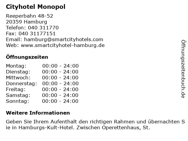 ᐅ Offnungszeiten Cityhotel Monopol Reeperbahn 48 52 In Hamburg