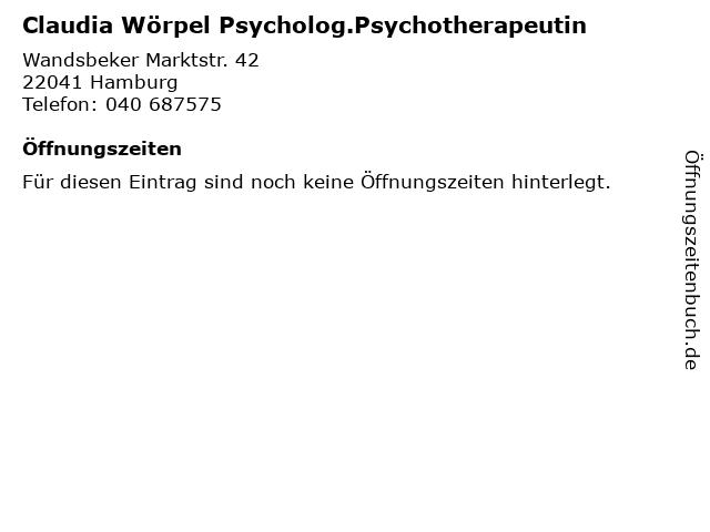 Claudia Wörpel Psycholog.Psychotherapeutin in Hamburg: Adresse und Öffnungszeiten