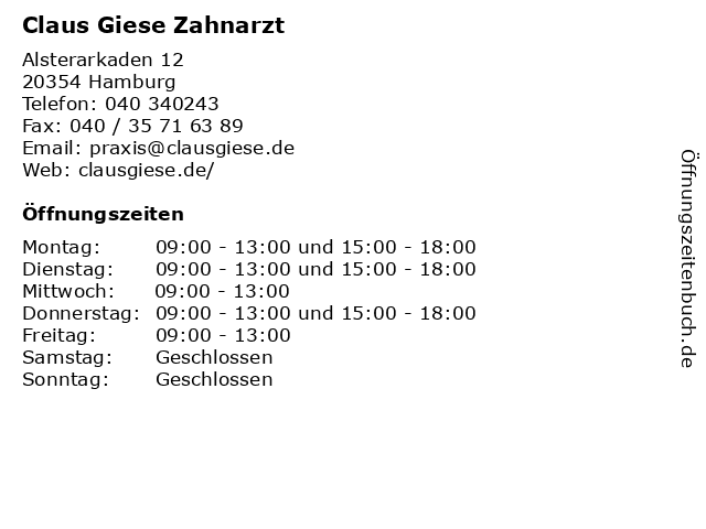 Claus Giese Zahnarzt in Hamburg: Adresse und Öffnungszeiten