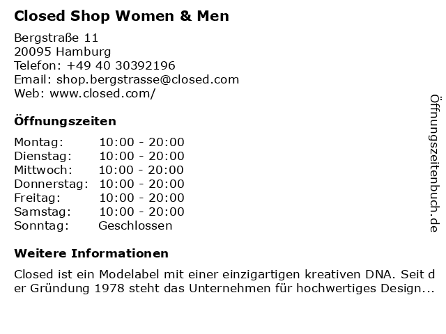 Closed in Hamburg: Adresse und Öffnungszeiten
