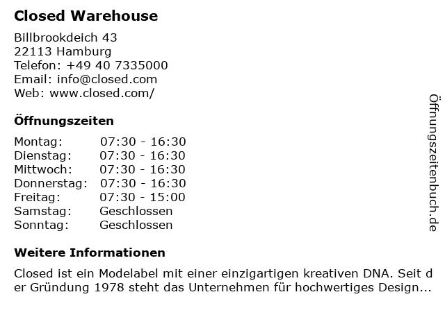 CLOSED GmbH in Hamburg: Adresse und Öffnungszeiten