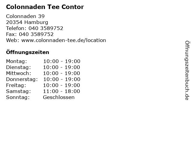 Colonnaden Tee Contor in Hamburg: Adresse und Öffnungszeiten