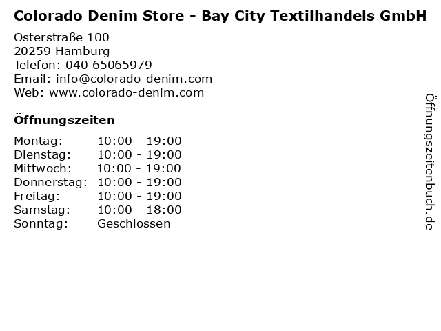 Colorado Denim Store - Bay City Textilhandels GmbH in Hamburg: Adresse und Öffnungszeiten