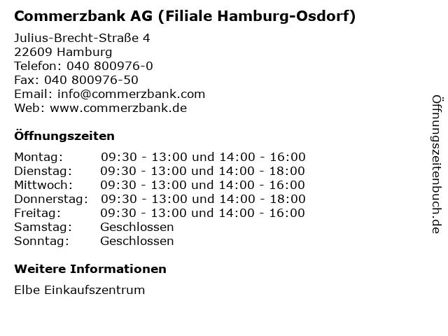 Commerzbank AG (Filiale Hamburg-Osdorf) in Hamburg: Adresse und Öffnungszeiten