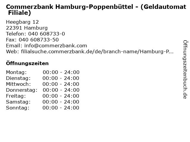 Commerzbank Hamburg-Poppenbüttel - (Geldautomat Filiale) in Hamburg: Adresse und Öffnungszeiten