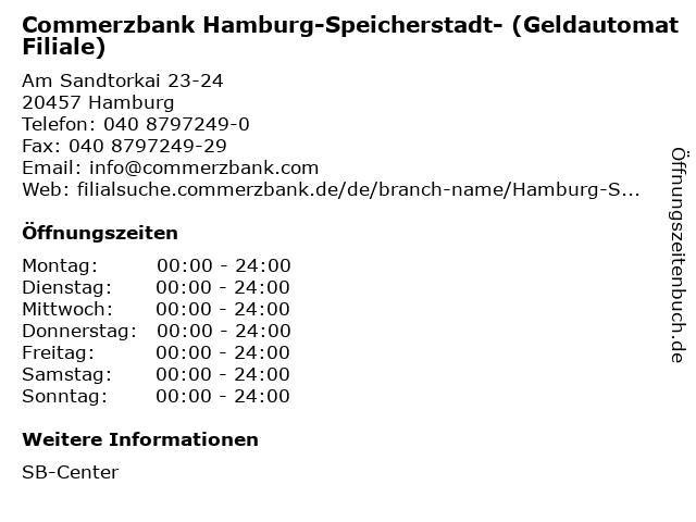Commerzbank Hamburg-Speicherstadt- (Geldautomat Filiale) in Hamburg: Adresse und Öffnungszeiten