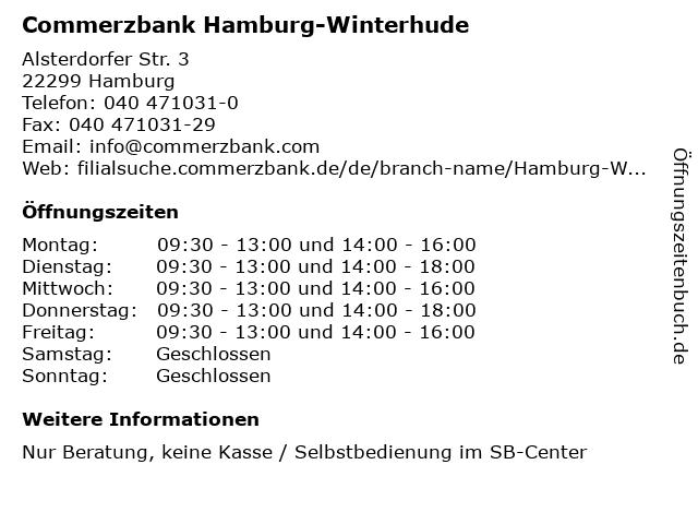 ᐅ öffnungszeiten Commerzbank Hamburg Winterhude Alsterdorfer