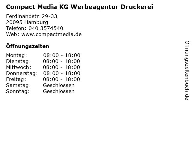 Compact Media KG Werbeagentur Druckerei in Hamburg: Adresse und Öffnungszeiten