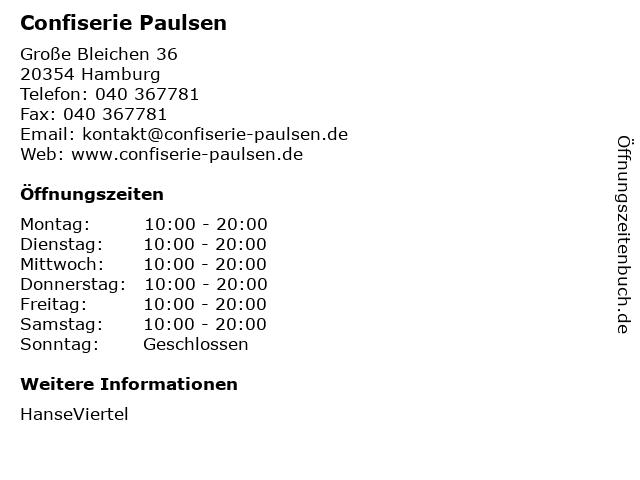 Confiserie Paulsen in Hamburg: Adresse und Öffnungszeiten