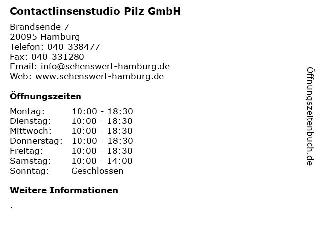 Contactlinsenstudio Pilz GmbH in Hamburg: Adresse und Öffnungszeiten