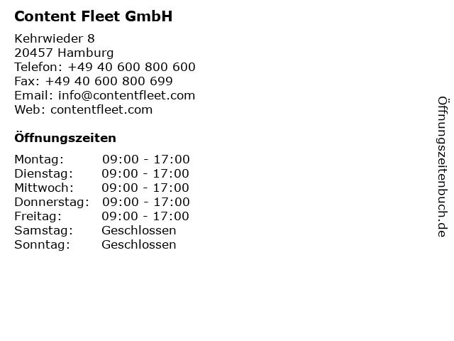 Content Fleet GmbH in Hamburg: Adresse und Öffnungszeiten