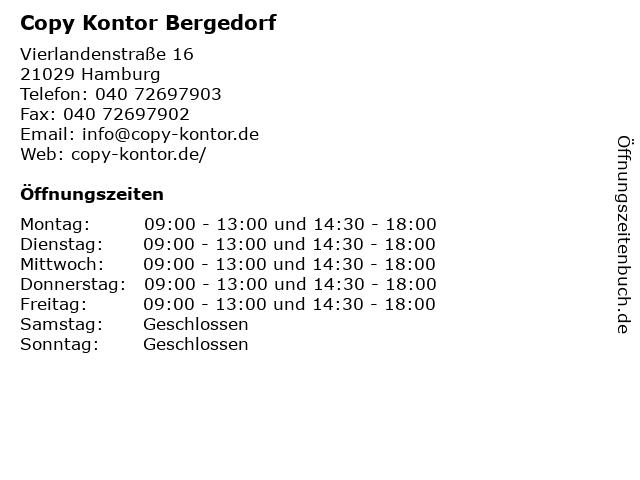 ᐅ öffnungszeiten Copy Kontor Bergedorf Vierlandenstraße