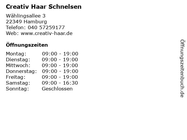 Creativ Haar Schnelsen in Hamburg: Adresse und Öffnungszeiten